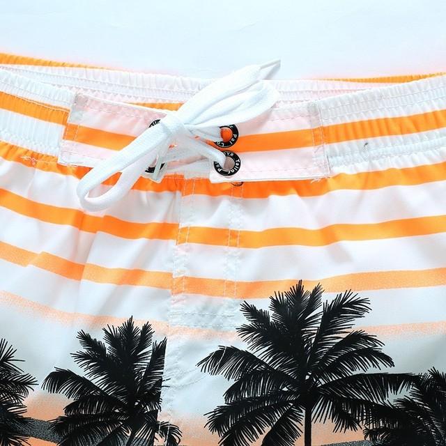 Men's Quick Drying Striped Beachwear Bermuda Board Shorts Polyester Coconut Trees Pattern Man Sunbathing Suit Male Bottoms