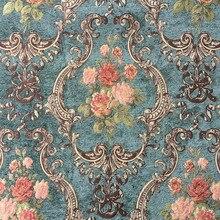 Cao Cấp Xanh Đậm Hoa Dày Polyester Rayon Voan Hoa Màn Dệt Sofa Vải Bọc Cao Cấp Vintage Vải 280 Cm Chiều Rộng