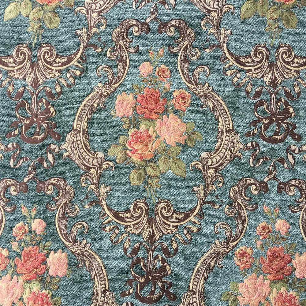 Deluxe vert fonc fleur pais polyester rayonne chenille floral rideau tiss canap d - Tissu ameublement vintage ...