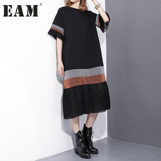 [EAM] 2017 Весна Мода Новый черный Правописание полоса плиссированные платья свободные длинные платья с короткими рукавами женщина T24501