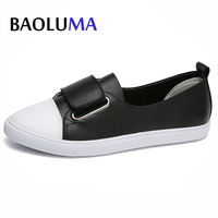 2017 Autumn Women Flats Ladies Slip On Flat Loafers Shoes Ladies Casual Rubber Boat Shoes Black