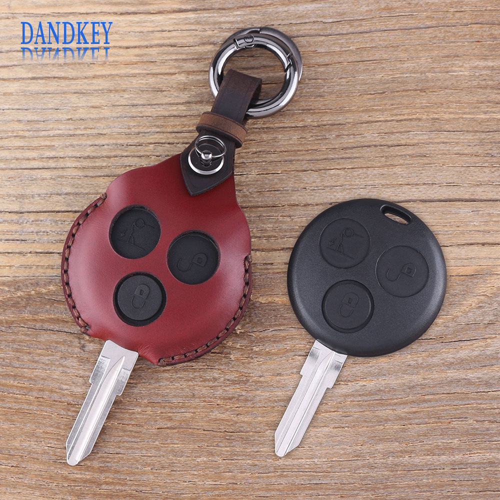 Dandkey 3 Butons Leather Keychain For Mercedes For Benz <font><b>Smart</b></font> Fortwo <font><b>450</b></font> Car <font><b>Key</b></font> Case <font><b>Key</b></font> Cover Protector Shell image