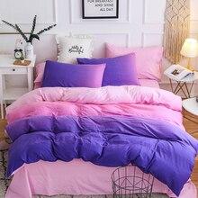 Фиолетовый розовый градиент комфортный спальный набор пододеяльник мягкий пододеяльник, наволочки Чехлы простыня Мода постельное белье хорошо продают