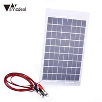10W Portable Flexible Solar Power Panel With Clips For 12V Battery Charging