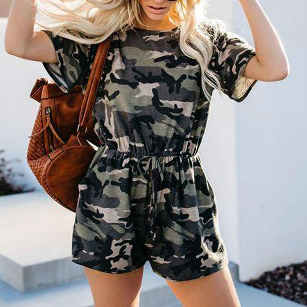 Women Playsuits Shorts Camouflage Summer Overalls Rompers Short Sleeve Female Military Onesies Short Pants Jumpsuit Casual Oneck