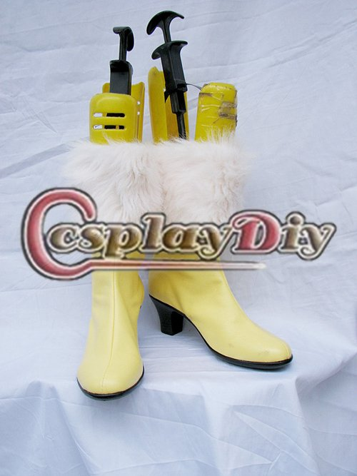 Final Fantasy Oerba Dia Vanille Cosplay Boots Shoes Low Heel Yellow Women's Leather Boots