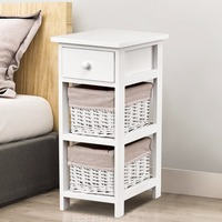 Giantex End Bedside Table Nightstand Chest Cabinet Bedroom Furniture Drawer Baskets Home Furniture HW55513
