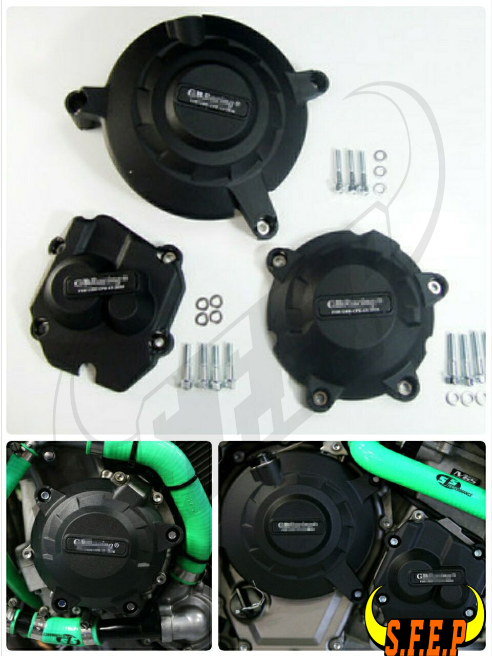 Motorcycle Engine Case Guard Protector Cover GB Racing For Kawasaki ZX10R 2011-2016 Black