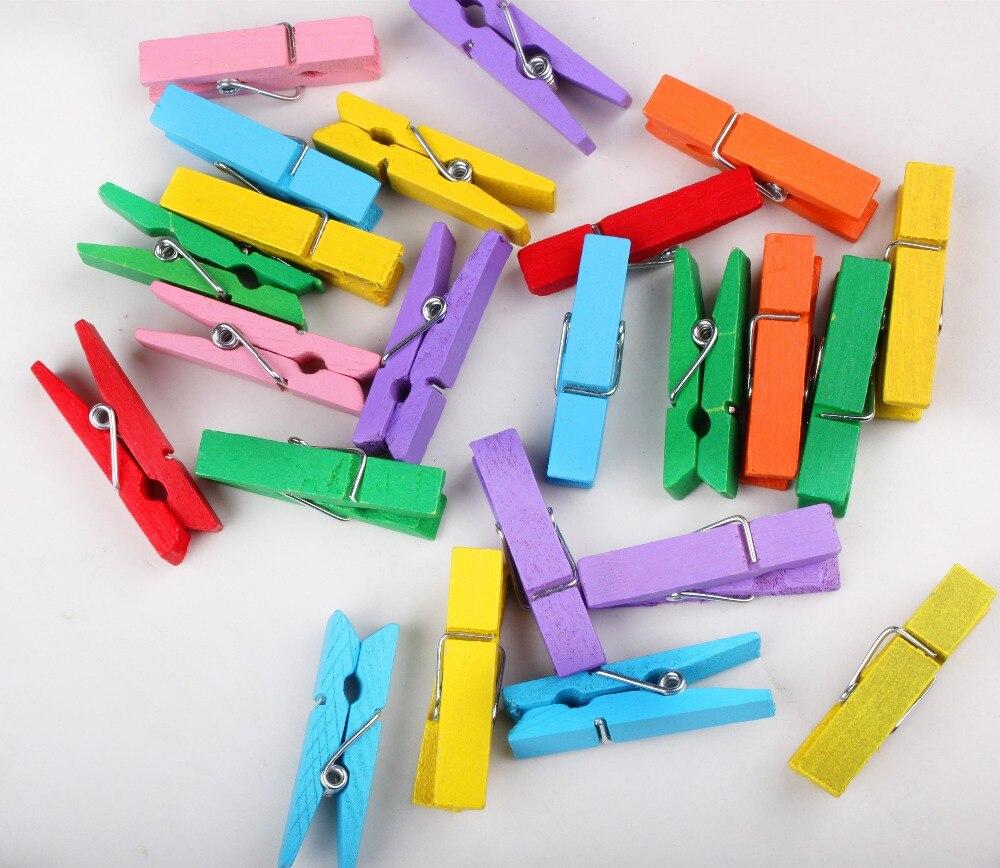 Mini épingle à linge en papier | Couleur mixte, vêtements en bois Photo cheville Clips artisanaux, 25mm 30mm 35mm 45mm, 50 pièces XP0236