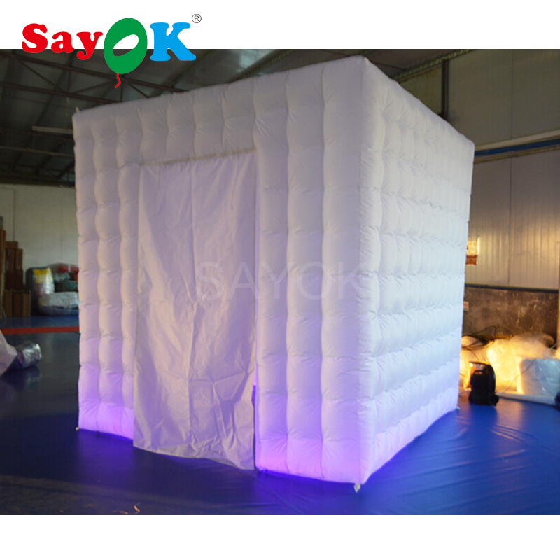Sayok Portable Photo Booth Inflatable Photo Booth Enclosure with 17 Colors LED Changing Lighting for Wedding Party Hire Rental