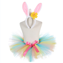 Candy Easter Rabbit Tutu Skirt Toddler Baby Christmas Tulle Skirts Girl Birthday Party Easter Bunny Skirt Girls Carnival Clothes toddler baby girl party pageant pu leather pencil skirt zipper biker skirt kid girls skirts clothes