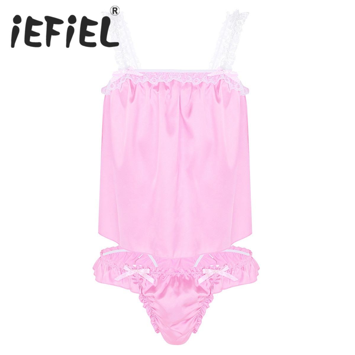 New Arrival Mens Sissy Lingerie Set Soft Shiny Satin Tops with Ruffled Bikini Briefs Sexy Underwear Panties Nightwear Sleepwear