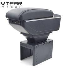 Vtear-caja de almacenamiento Universal para apoyabrazos accesorios de consola central de coche, reposabrazos de cuero interior ABS, decoración de estilismo para coche