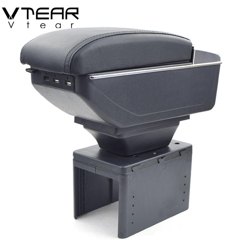 Vtear Universel de voiture accoudoir boîte USB De Charge intensifient Double couche centrale Magasin contenu porte-gobelet cendrier accessoires 99-2019