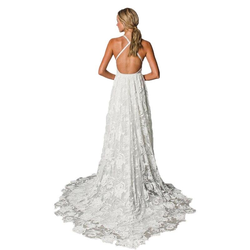 Sexy Backless Beach Boho Wedding Dress 2019 Front Split V neck Bridal Wedding Gowns Shabby Chic Satin Lace Bride Wedding Dress in Wedding Dresses from Weddings Events