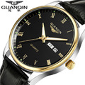 Men Watches 2016 Fashion Top Brand Luxury GUANQIN Quartz-Watch Waterproof Leather Strap Calendar Relogio Masculino 2016 Gift