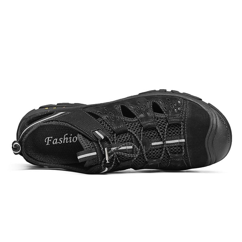 Tamanho Grande Homens Livre Praia Couro De Caminhadas Roman Ar Ao Preto Sapatos Suaves Escuro Verão Sandálias cáqui Clássico Confortáveis Macias Fzwq4wv