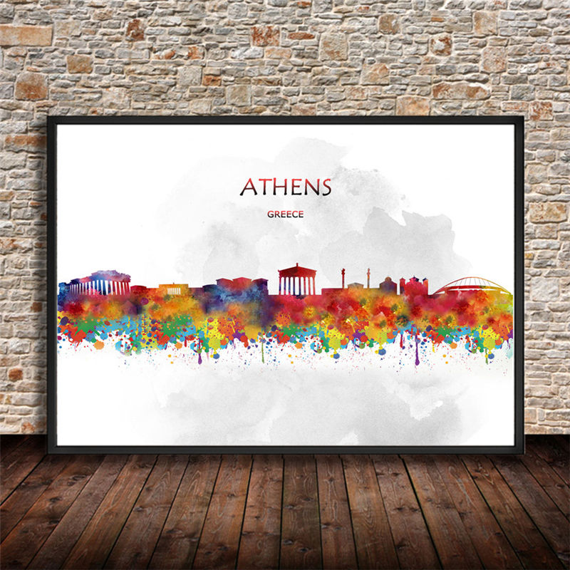 Abstract Watercolor City Building ATHENS Greece Art Prints Wall ...