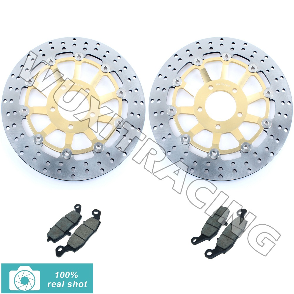 fit for Suzuki GSF 600 / S Bandit 00 01 02 03 04 SV 650 S 99-02 GSX 750 F 98-02 New Round Front Brake Discs Rotors + Pads