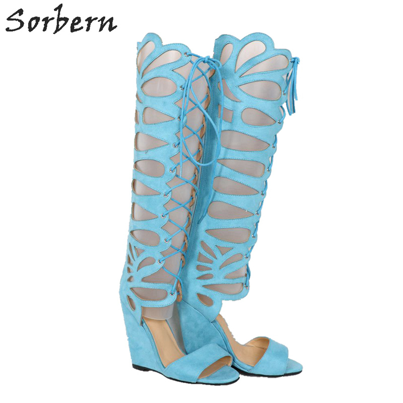 Sorbern Peacock Blue Summer Sandals Knee High Wedge High Heels Gladiator Sandals Lace Up Hollow Out Wedges Shoes For WomenSorbern Peacock Blue Summer Sandals Knee High Wedge High Heels Gladiator Sandals Lace Up Hollow Out Wedges Shoes For Women