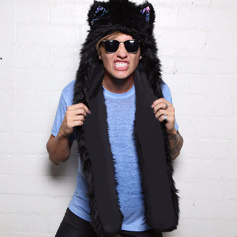 469fd40359806 Men Faux Fur Hood Animal Hat Ear Flaps Hand Pockets 3in1 Animal Hood Hat  Wolf Plush Warm Animal Cap with Scarf Gloves -in Skullies & Beanies from  Apparel ...