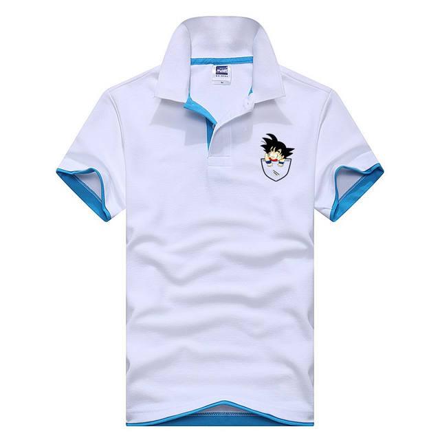High Quality Men's Casual Polo Shirt Fake Bag Dragon Ball Print Short Sleeve Camisas Masculinas Polo Tops Tee Shirt Wholesale