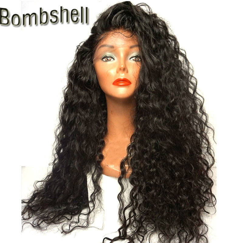 Bombshell 180 Heavy Density Blakc Long Loose Curly Water Wave Synthetic 3 Inch Lace Front Wigs