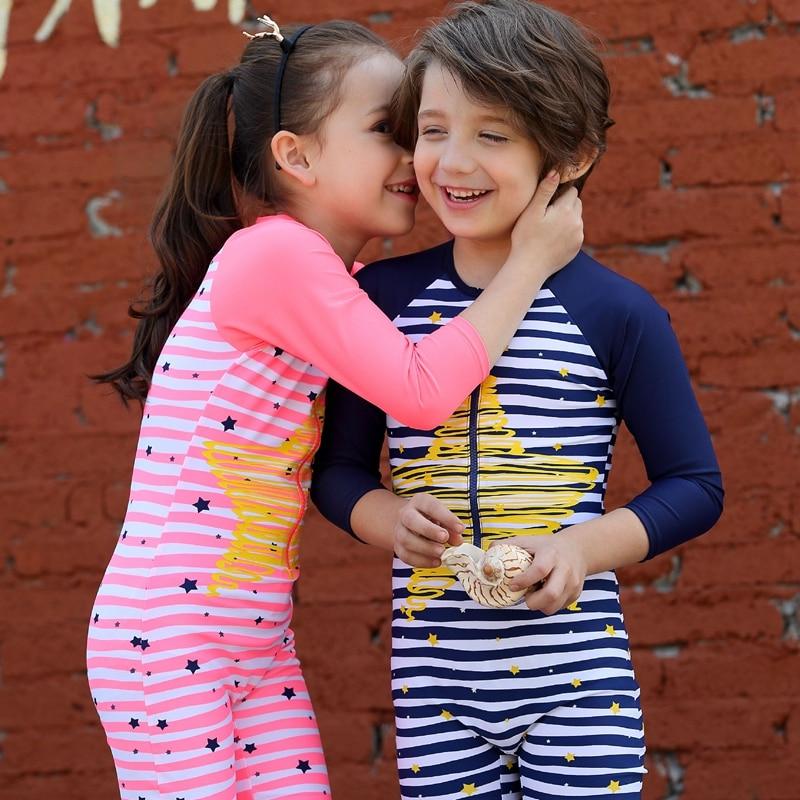 Children 39 s zipper swimsuit one piece stripe wetsuit boy swim suit girl swim wear with hat uv sun for Children s swimming pool wetsuit