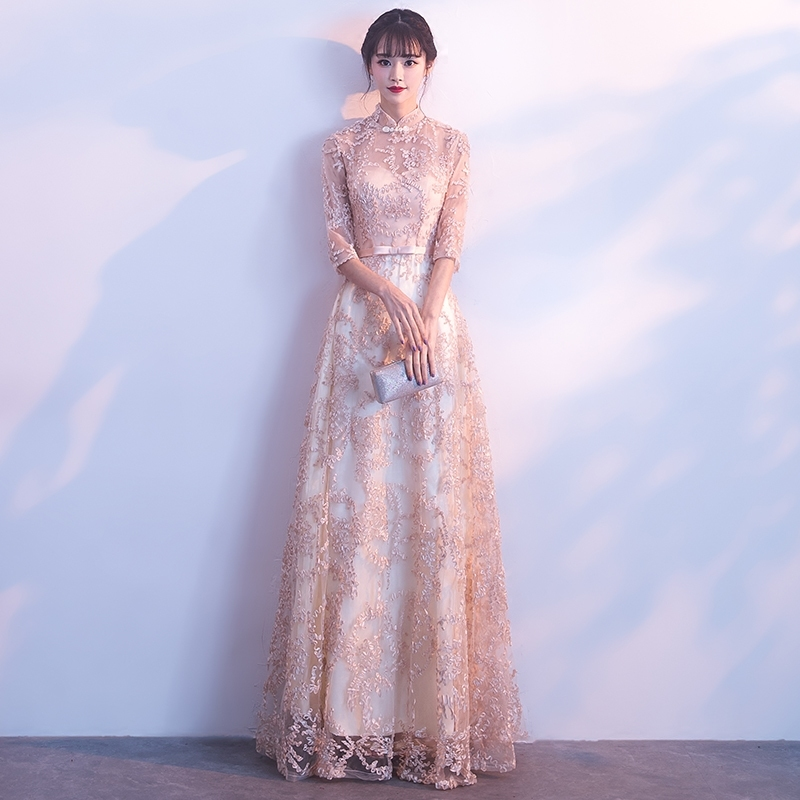 Oriental Style Dresses Chinese Bride Vintage Traditional Wedding Cheongsam Dress Plus Size Qipao Modern Robe Mariee cele goldsmith lalli modern bride® wedding celebrations
