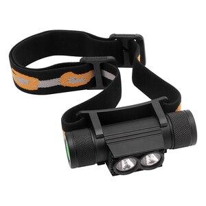 Image 2 - BORUiT D25 podwójny XM L2 LED Mini reflektor 6 Mode 5000lm potężny reflektor akumulator 18650 Head latarka kempingowa polowanie