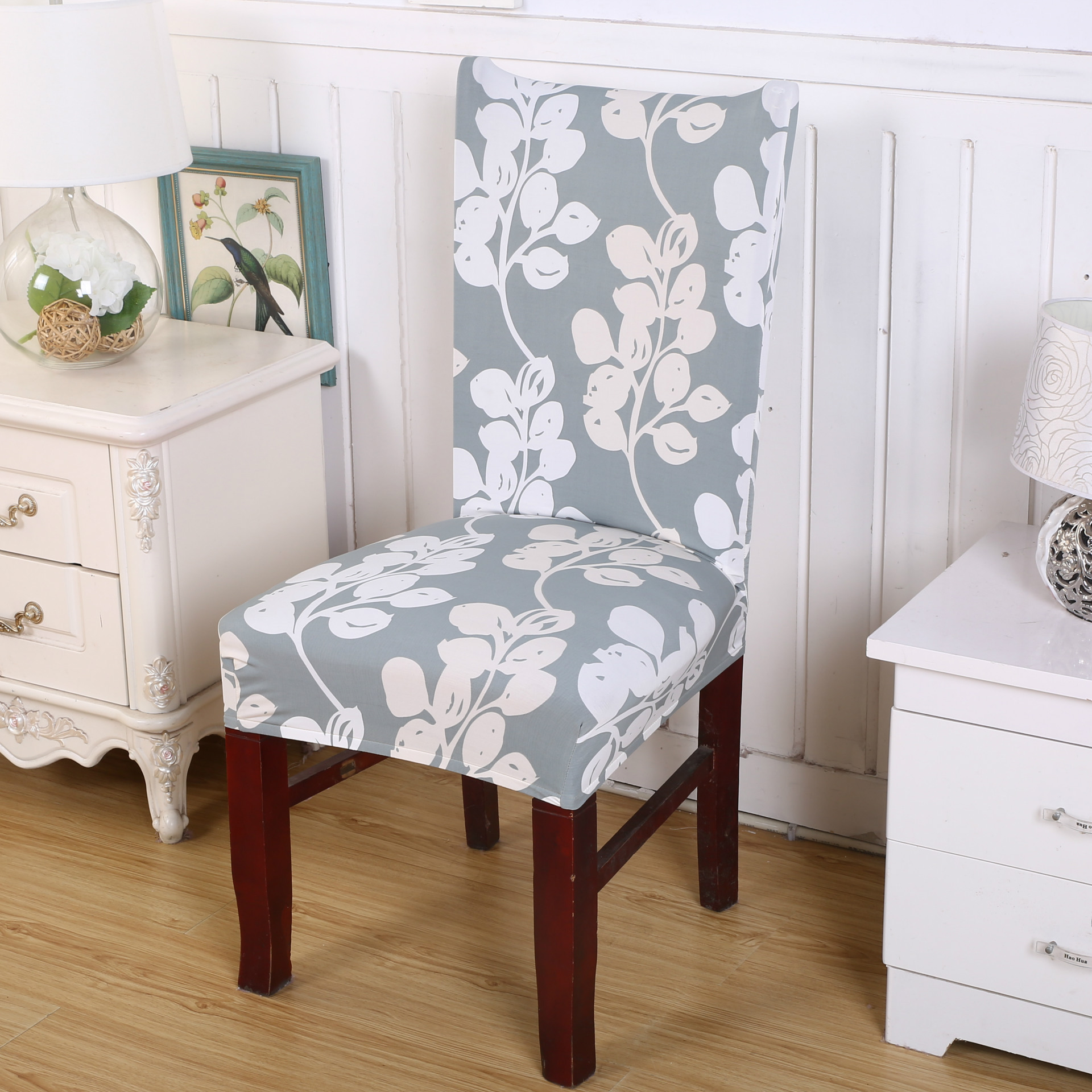 Dining Chair Covers Aliexpress Truck Bed Chairs Spandex Floral Printing Stretch Dinning Protector