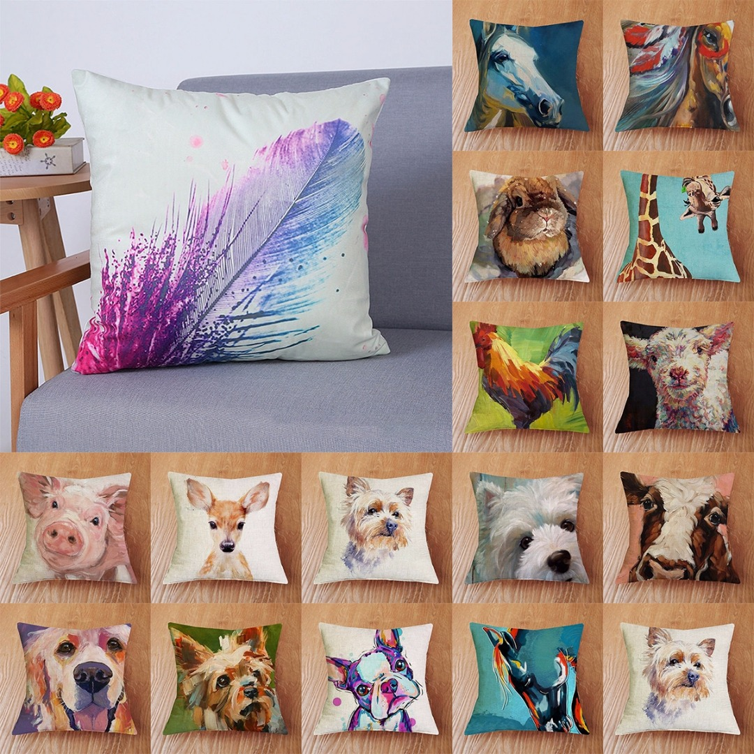 Cute Animal Pillow Case Cushion Cover Mayitr Cotton Linen Bed Pillowcase Car Home Decoration
