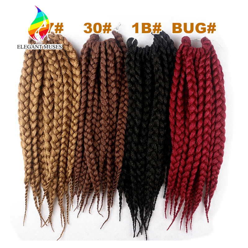 Box Jumbo Braiding Hair Extensions Synthetic Crochet Twist Box Braids Hair Weaving 14 Inches/pcs Box Jumbo Twist Braids