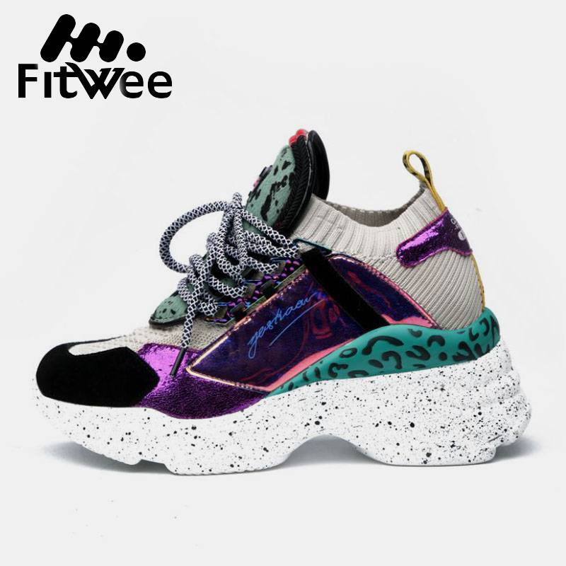 FitWee 10 Style Simple 2019 Sneakers Women PU/Real Leather  New Arrival Daily Soft Casual Knit Sports Running Shoes Size 35-42FitWee 10 Style Simple 2019 Sneakers Women PU/Real Leather  New Arrival Daily Soft Casual Knit Sports Running Shoes Size 35-42