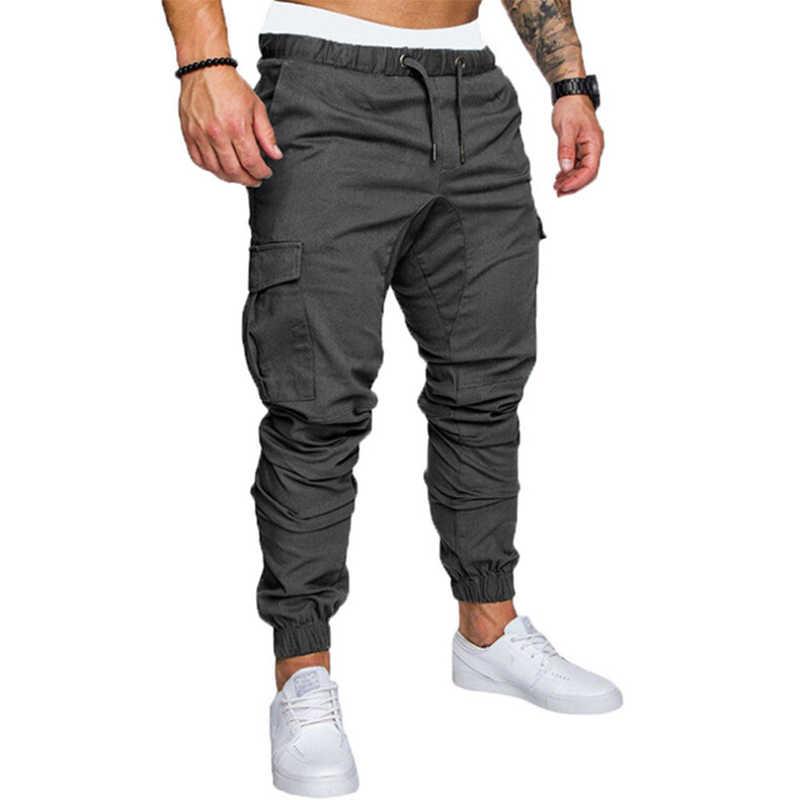 Мужские повседневные штаны в стиле хип-хоп, светло-серые однотонные брюки с множеством карманов, зауженные к низу, облегающего покроя, джоггеры для спорта на осень 2019