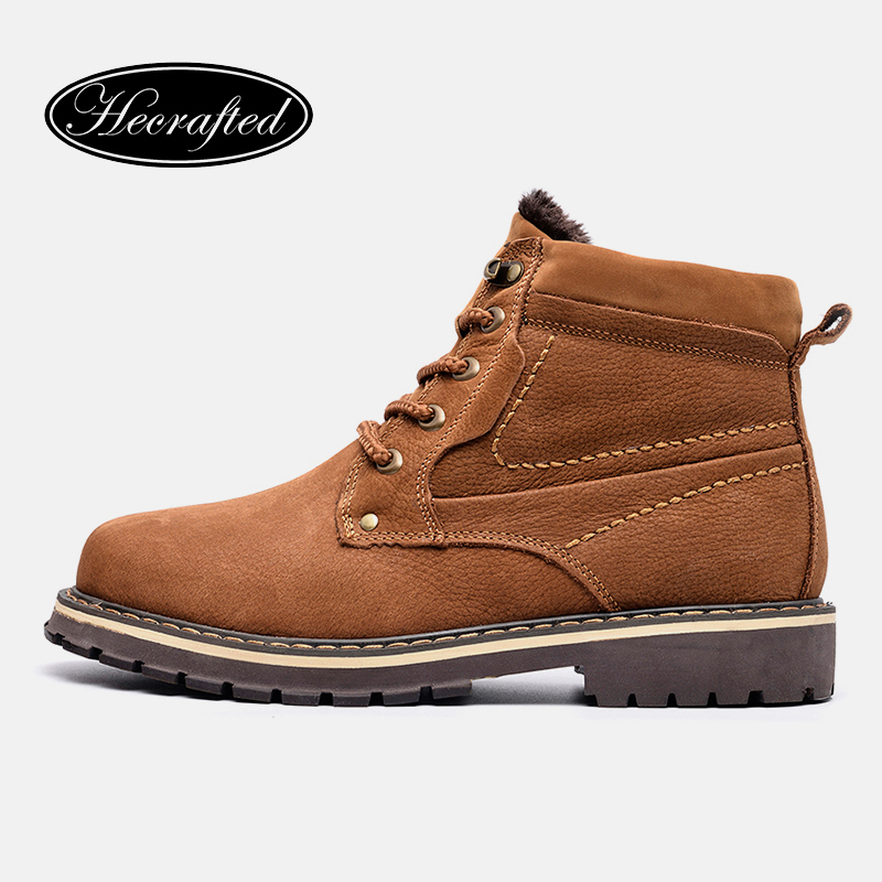 2019 Natural Cow Leather Men Boots 38~50 Handmade Warm Men Winter Boots #8988