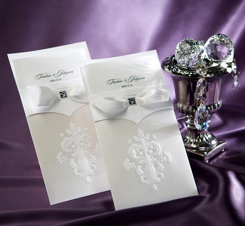 Wedding Invitation Card Paper: Wedding Invitations Cards Elegant Ivory Flowers Embossed