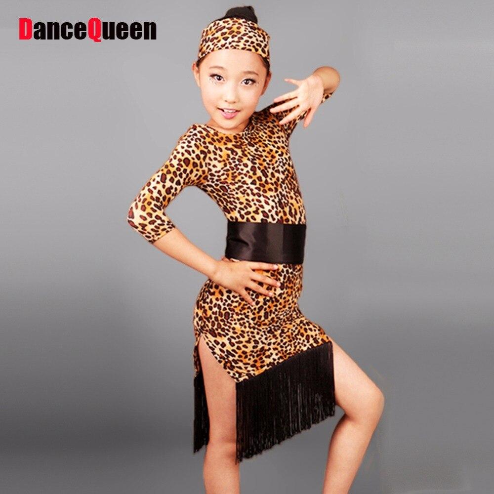 Adulto / crianças Vestido De dança latina / Lady grãos leopardo Vestido De Baile Latino trajes De dança para crianças Vestido De Baile Latino