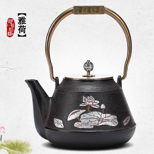 Cast iron pot Japans  iron pot pot lotus tea copper handle potCast iron pot Japans  iron pot pot lotus tea copper handle pot