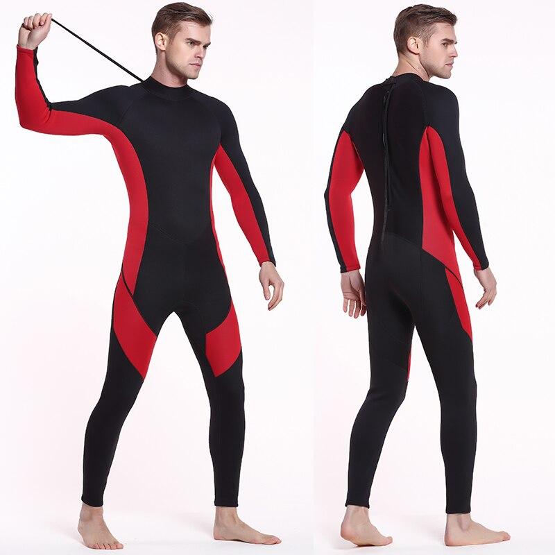 Sbart combinaison hommes complet 3mm néoprène surf costume plongée en apnée natation combinaison noir/rouge couleur bloc dos Zip plein costume