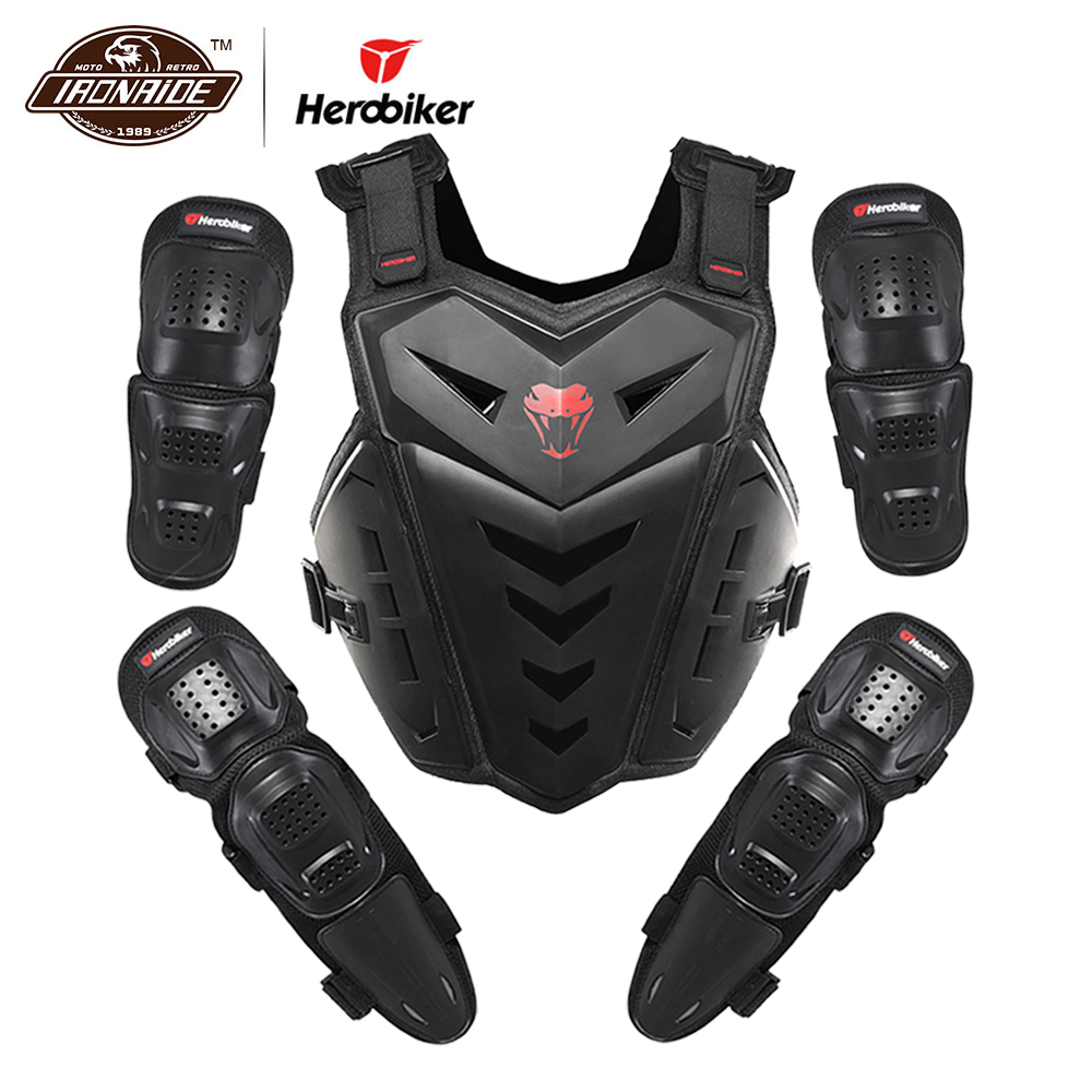 HEROBIKER Motorcycle Jakcet Body Armor Motorcycle Elbow & Knee Pads Suit Moto Motocross Vest Protective Gear Protectors Set herobiker armor removable neck protection guards riding skating motorcycle racing protective gear full body armor protectors
