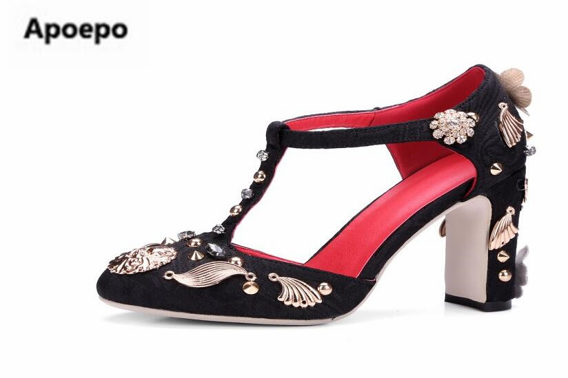 Retro mary janes shoes crystal high heels pumps wedding shoes women round toe dames schoenen 2018 summer sandals black red shoes цены онлайн