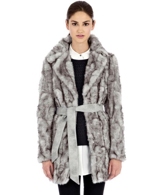 High End Classic Mink like Gray Belted Faux Fur Coat Warehouse -in ...