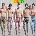 2015 nuevos hombres de legging 100% algodón calzoncillos largos calientes de talla grande separada camuflaje de la ropa interior long johns 6 colores tamaño M / L / XL / XXL