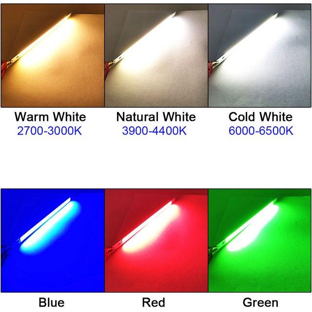 COOLEEON 200*10mm DC12V LED COB tira de luz 10cm 10W lámpara azul verde rojo cálido blanco frío Barra de luces LED 100mm 12V COB bombilla