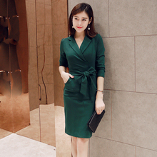 2016 Autumn Sexy Knee-length Dress Solid Color Bow Turn-down Collar Elegant Vintage Evening Party Dresses Vestidos S M L XL 2XL spring autumn shirt dress women turn down collar full sleeves casual striped button belt dresses mini vestidos s xl 2019