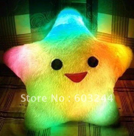 Free EMS 20 Pieces led light Smiling Star pillow cushion seven color changing pillow Christmas Gift