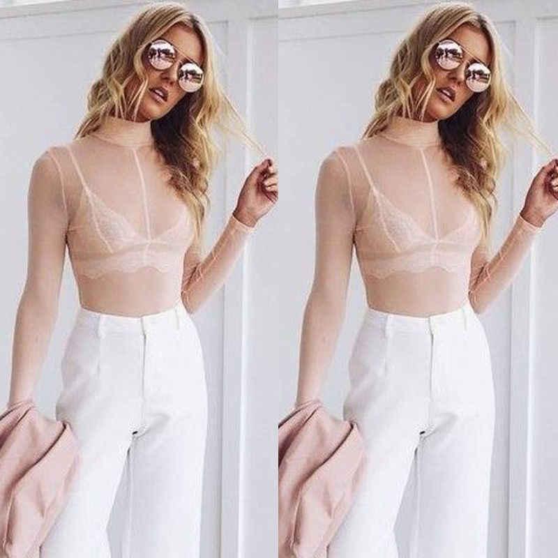 2018 letnia modna damska bluzka seksowna damska koszulka z długim rękawem przepuszczalna czysta górna pół przezroczysta bluzka