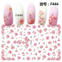 SUPER THIN SELF ADHESIVE 3D NAIL ART NAIL SLIDER STICKER BLACK DAISY FLOWER FABRIC CHERRY BLOSSOM FEATHER NECKLACE F439-448(China)