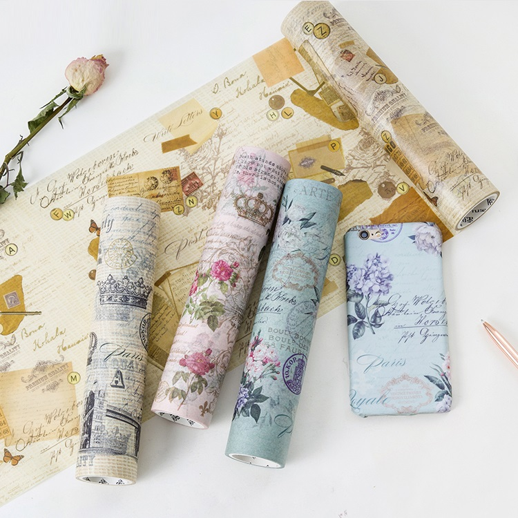 Large-size 200mm*5M Old Newspaper/Poste/Letter/Renaissanc Japanese Washi Decorative Adhesive Tape DIY Masking Paper Tape Sticker large size 200mm 5m old newspaper poste letter pattern japanese washi decorative adhesive tape diy masking paper tape sticker page 6